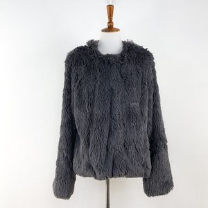 Sanctuary Grey Stella Faux Fur Jacket NWT